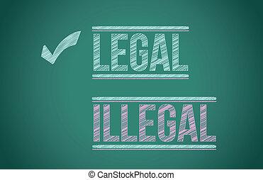 legal vs illegal illustration design over a blackboard