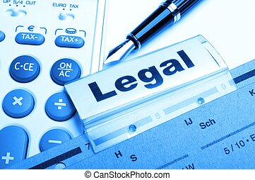 legal word on folder index showing law court or justice...