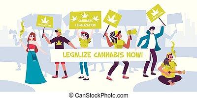 legalization, manifestazione, riunione, composizione, canapa