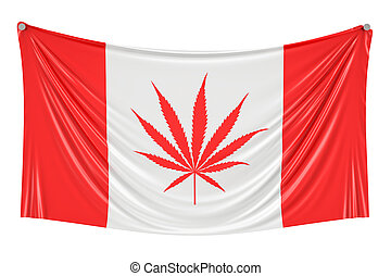 Legalization of cannabis in Canada. Canadian flag with marijuana leaf hanging on the wall, 3D rendering