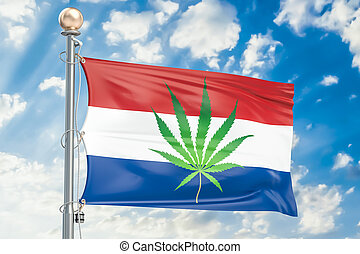 Legalization of cannabis in Netherlands, flag with marijuana...
