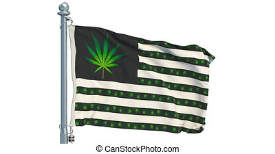 Legalization of cannabis in US concept. USA flag with marijuana leafs waving on white background, animation. 3D rendering