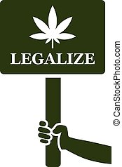 legalize marijuana on placard icon