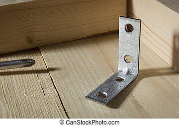 legatura, metallo, legno, angoli, assi