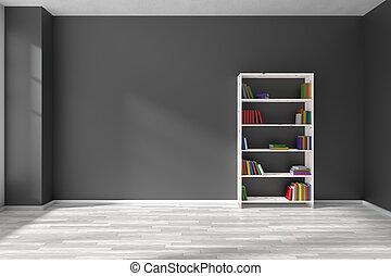 lege, black , kamer, met, boekenplank, interieur