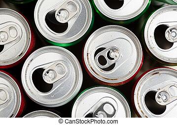 lege, blikjes, recycling, gebruikt, aluminium, gereed