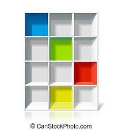 lege, boekenplank