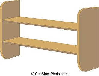 lege, boekenplank, houten