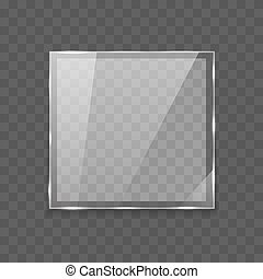 lege, doorschijnend, vierkante vorm, lens, glas