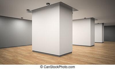 lege, galerij, interieur, hoek, aanzicht, 3d, vertolking