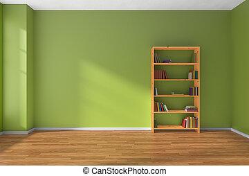 lege, groene, kamer, houten, boekenplank, interieur