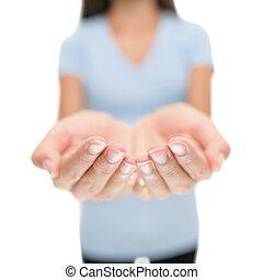 lege, hands., product, vrouw, witte , handen, het tonen, vasthouden, leeg, copyspace., cupped, palmen, voorwerp, open, achtergrond, vrijstaand