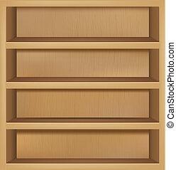 lege, houten, boekenplank