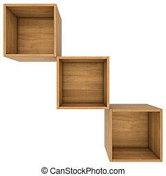 lege, houten, dozen