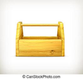 lege, houten, toolbox