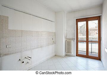 lege, keuken, kamer, in, vieze , flat