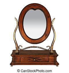 lege, kledende tafel, spiegel., vrijstaand, op wit