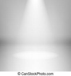 lege, licht, kamer, met, schijnwerper