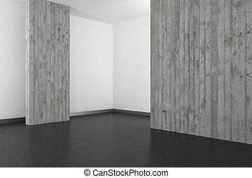 Beton Muur Badkamer : Lege moderne badkamer met beton muur en donker vloer illustraties en