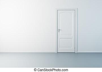 lege, nieuw, kamer, met, deur