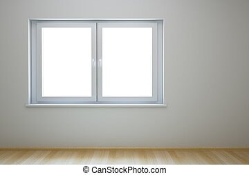 lege, nieuw, kamer, met, venster