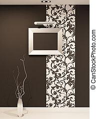 lege omlijsting, voor, foto, op, decoratief, muur, met,...
