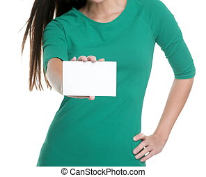 lege, persoon, advertentie, studio, t-shirt., achtergrond, jonge vrouw , witte , meldingsbord, groene, tekst, het tonen, vasthouden, leeg, kopie, visitekaartje, ruimte