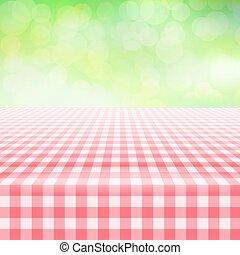lege, picknick, gingham, tafelkleed, groene achtergrond
