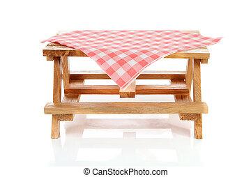 lege, picknicklijst, met, tafelkleed