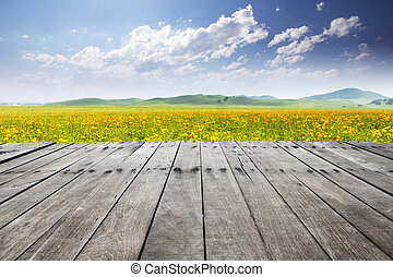 lege, plank, met, hemel, en, wildflower, achtergrond