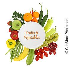 lege, schaaltje, met, fruit en groenten, ongeveer, informatietechnologie
