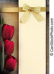 lege, spandoek, en, rood, tulpen, op, ouderwetse , achtergrond