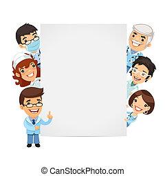 lege, spandoek, het voorstellen, verticaal, artsen