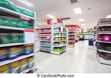 lege, supermarkt, gangpad, verdoezelen