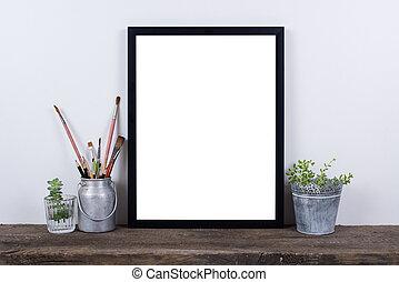 lege, thuis, boven., minimaal, stijl, frame, foto, decor, ...