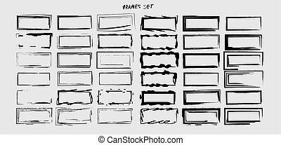 lege, vector, borders., signs., black , frames., set