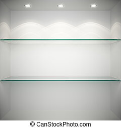 lege, vitrine, met, glas, planken