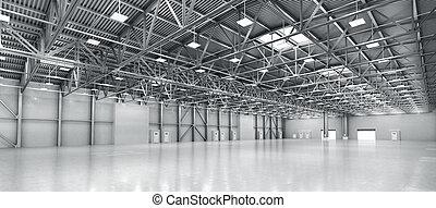 lege, warehouse., 3d, illustratie