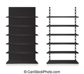 lege, winkel, planken, black