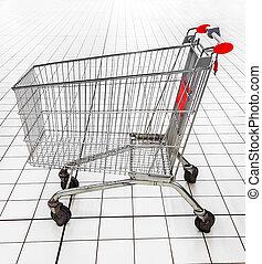 lege, winkelend wagentje, in, een, supermarket.