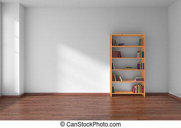 lege, wite kamer, met, boekenplank, interieur