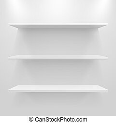 lege, witte , planken, op, licht, grijze , achtergrond