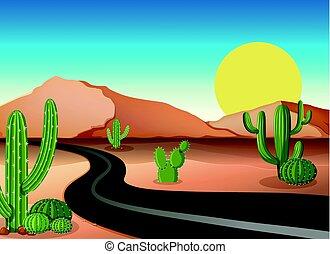 lege, woestijn, straat, grond