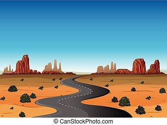 lege, woestijn, straat, scène