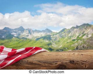 lege, wooden table, met, rood, servet