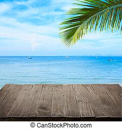 lege, wooden table, met, tropische , zee, en, palm vel, op...