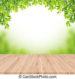 lege, wooden table, met, vaag, tuin, op achtergrond