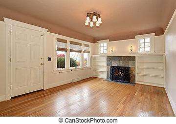 Strip, woonkamer, muur, helder, rots, openhaard. Strip,... beeld ...
