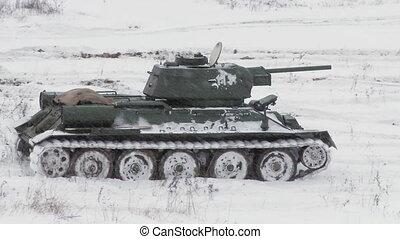 legendär, russische, tank, t34, in, verschneiter