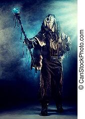 legend male - Ancient shaman warrior. Ethnic costume....